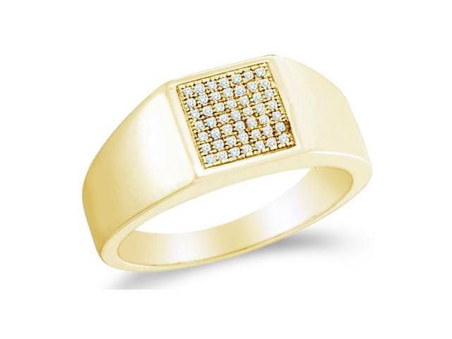 10k Yellow Gold Classic Fashion Micro Pave Set Round Cut Mens Diamond Wedding Ring Band 9mm (.15 cttw, H Color, I1 Clarity)
