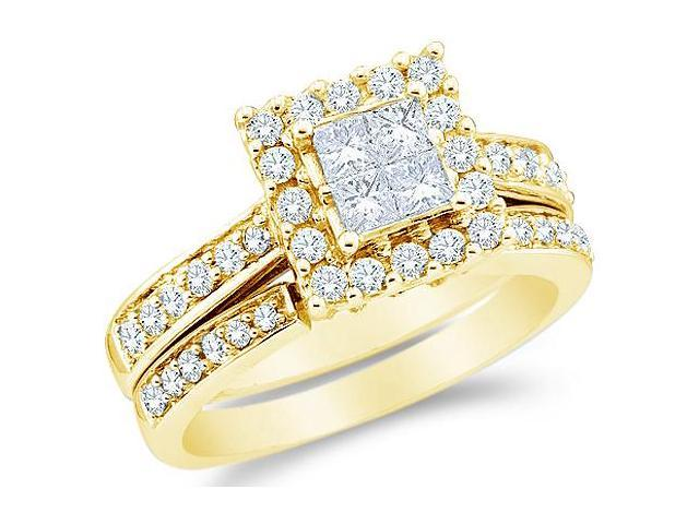 14k Yellow Gold Diamond Engagement Ring Wedding Band Two 2 Ring Set Solitaire Style Center Setting Halo Princess and Round Cut Diamond Ring  (1/2 cttw, G - H Color, SI2 Clarity)