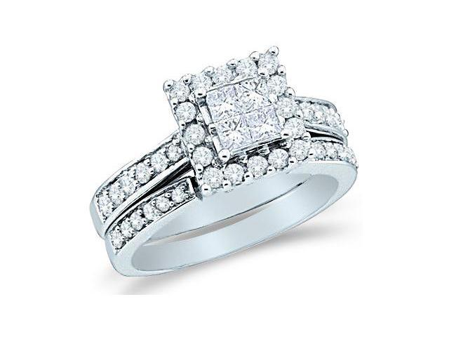 14k White Gold Diamond Engagement Ring Wedding Band Two 2 Ring Set Solitaire Style Center Setting Halo Princess and Round Cut Diamond Ring 22mm (1.0 cttw, G - H Color, SI2 Clarity)