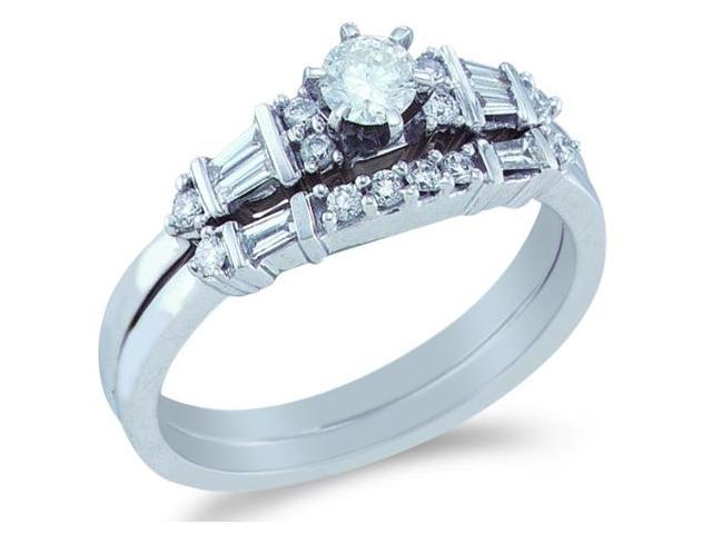 14k White Gold Diamond Ladies Engagement Ring Wedding Band Two 2 Ring Set Solitaire Side Stones Round and Baguette Cut Diamond Ring  (1/2 cttw, 1/5 ct Center, H Color, I1 Clarity)
