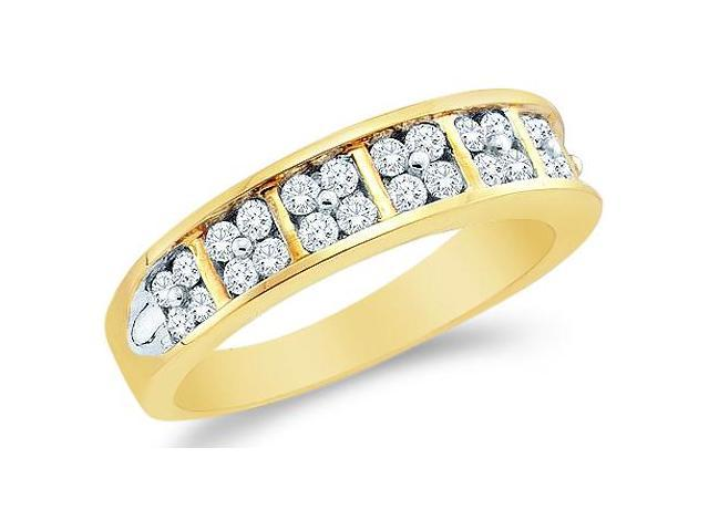 14k Yellow Gold Round Cut Diamond Ladies Womens Two Row Channel Set Wedding or Anniversary Ring Band (1/2 cttw, G - H Color, SI2 Clarity)