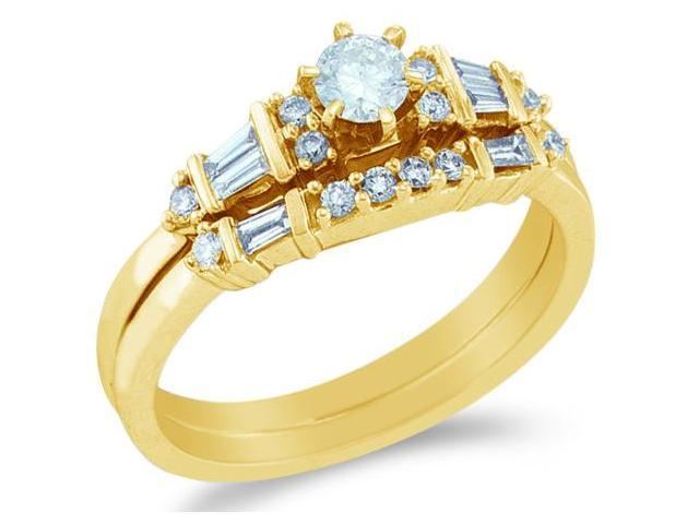 14k Yellow Gold Diamond Ladies Engagement Ring Wedding Band Two 2 Ring Set Solitaire Side Stones Round and Baguette Cut Diamond Ring  (1/2 cttw, 1/5 ct Center, H Color, I1 Clarity)