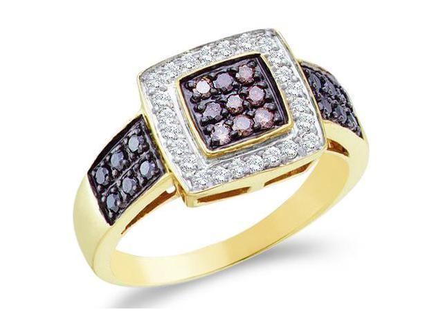 14k Yellow Gold Diamond Engagement Right Hand Chocolate Brown, Black & White Diamonds Round Brilliant Cut Diamond Ring 10mm (.54 cttw, H Color, I1 Clarity)