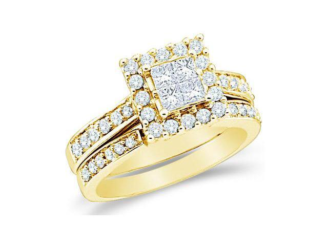 14k Yellow Gold Diamond Engagement Ring Wedding Band Two 2 Ring Set Solitaire Style Center Setting Halo Princess and Round Cut Diamond Ring 22mm (1.0 cttw, G - H Color, SI2 Clarity)