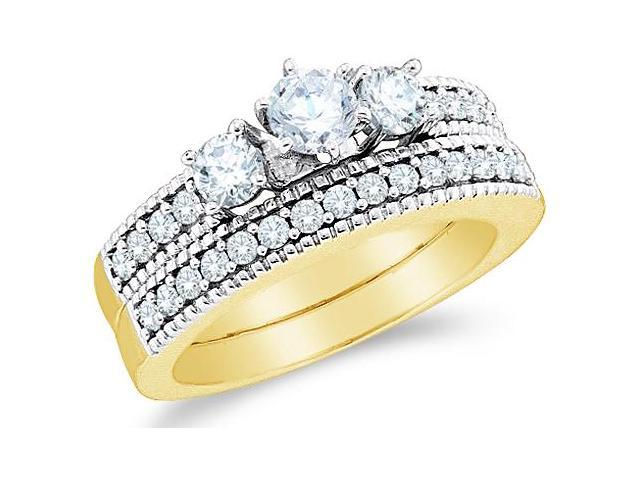 14k Yellow Gold Diamond Ladies Engagement Ring Wedding Band Two 2 Ring Set Three 3 Stone Side Stones Channel Set Round Brilliant Cut Diamond Ring  (1.0 cttw, G - H Color, SI2 Clarity)