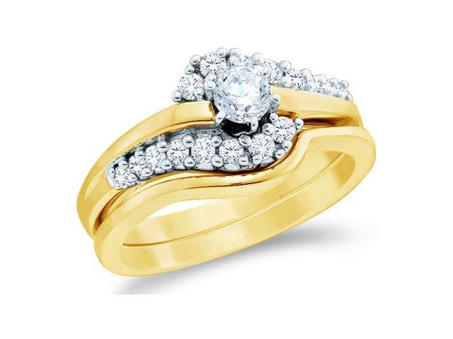 14k Yellow Gold Diamond Ladies Engagement Ring Wedding Band Two 2 Ring Set Solitaire Side Stones Round Brilliant Cut Diamond Ring  (1/2 cttw, 1/5 ct Center, G - H Color, SI2 Clarity)