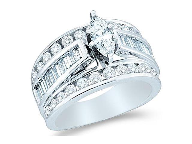 14k White Gold Diamond Engagement Wedding Solitaire with Side Stones Channel Set Large Marquise , Round & Baguette Cut Diamond Ring  (1.50 cttw, 1/2 ct Center, G - H Color, SI2 Clarity)