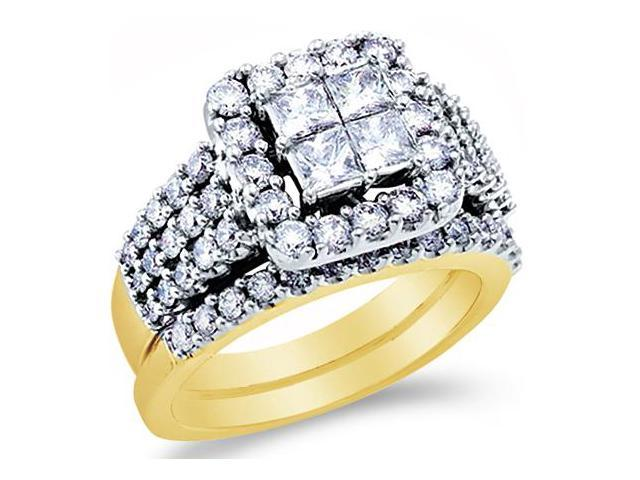14k Yellow Gold Diamond Engagement Ring Wedding Band Two 2 Ring Set Solitaire Style Center Setting Halo Large Princess and Round Cut Diamond Ring  (3.99 cttw, G - H Color, SI2 Clarity)