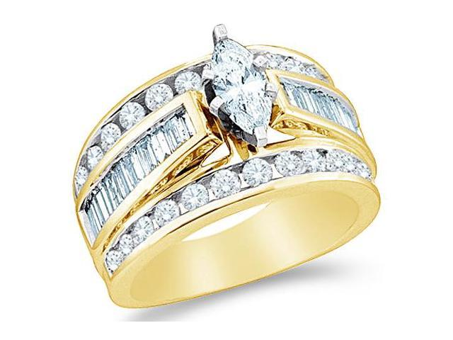 14k Yellow Gold Diamond Engagement Wedding Solitaire with Side Stones Channel Set Large Marquise , Round & Baguette Cut Diamond Ring  (1.50 cttw, 1/2 ct Center, G - H Color, SI2 Clarity)