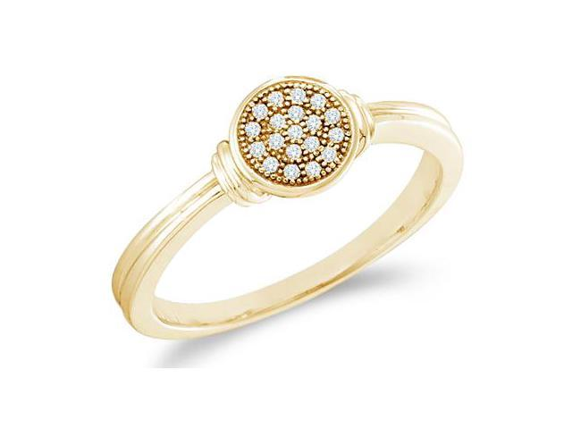 10k Yellow Gold Round Shape Center Micro Pave Setting Round Cut Diamond Engagement Ring 5mm (.05 cttw, H Color, I1 Clarity)