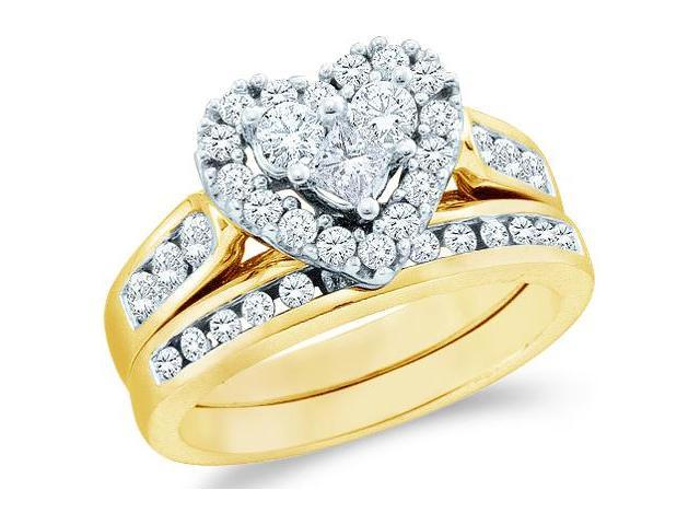 14k Yellow Gold Diamond Engagement Ring Wedding Band Two 2 Ring Set Solitaire Style Center Setting Heart Love Halo Diamond Ring  (1.01 cttw, G - H Color, SI2 Clarity)