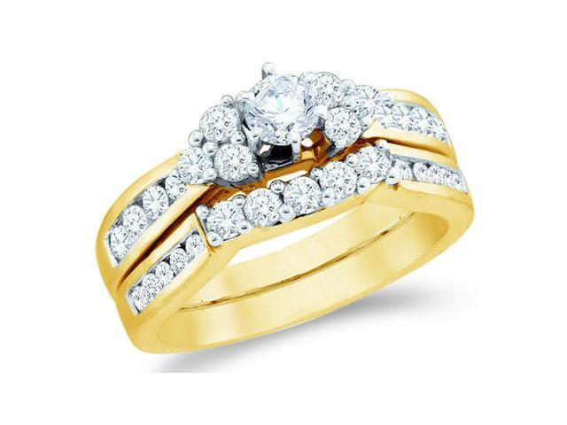14k Yellow Gold Diamond Engagement Ring Wedding Band Two 2 Ring Set Solitaire Three 3 Stone Style Five 5 Stone Round Cut Diamond Ring  (1.0 cttw, 1/4 ct Center, G - H Color, SI2 Clarity)