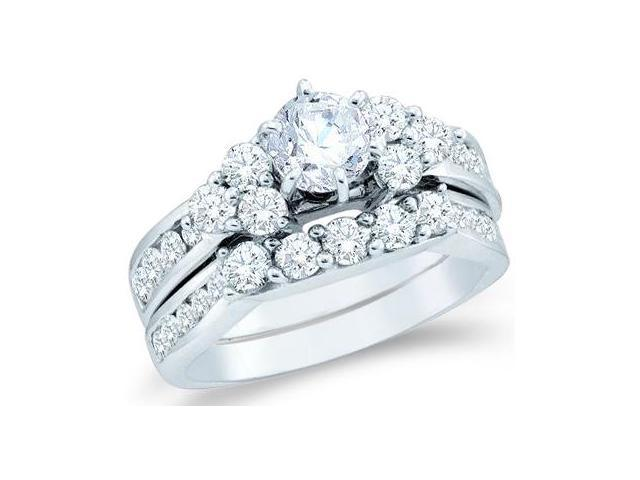 14k White Gold Diamond Engagement Ring Wedding Band Large Solitaire Three 3 Stone Style Five 5 Stone Round Cut Diamond Ring  (1.99 cttw, 3/4 ct Center, G-H Color, SI2 Clarity)