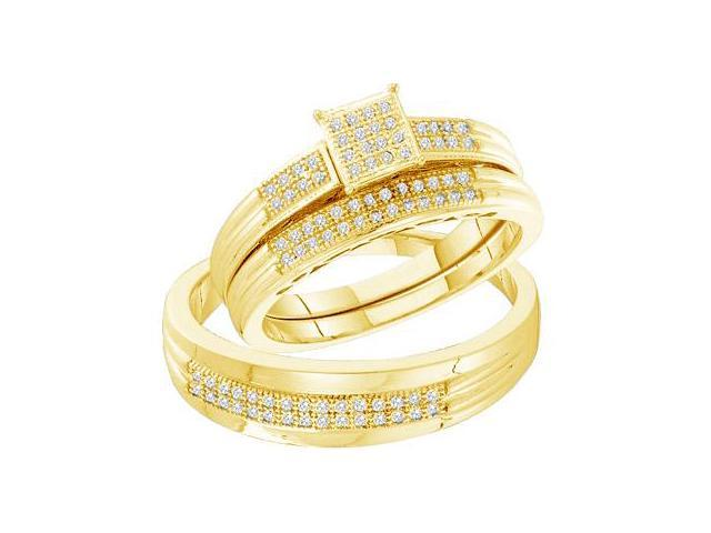 10k Yellow Gold Trio 3 Three Ring Matching Engagement Wedding Ring Band Set - Round Diamonds - Micro Pave Princess Shape Center Setting (1/4 cttw, H Color, I1 Clarity)