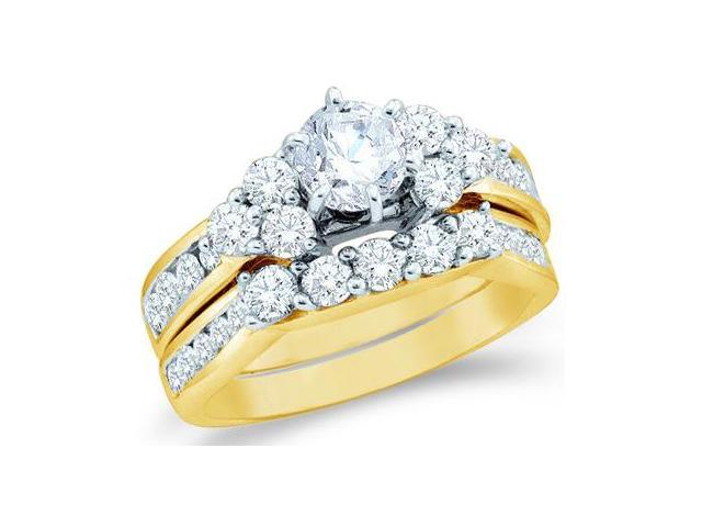 14k Yellow Gold Diamond Engagement Ring Wedding Band Large Solitaire Three 3 Stone Style Five 5 Stone Round Cut Diamond Ring  (1.99 cttw, 3/4 ct Center, G-H Color, SI2 Clarity)