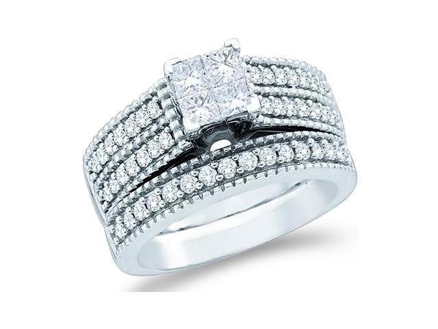 14k White Gold Diamond Engagement Ring Wedding Band Two 2 Ring Set Solitaire Style Center Setting Side Stones Princess and Round Cut Diamond Ring  (1.0 cttw, G - H Color, SI2 Clarity)
