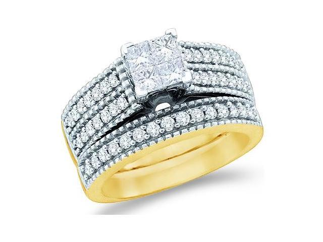 14k Yellow Gold Diamond Engagement Ring Wedding Band Two 2 Ring Set Solitaire Style Center Setting Side Stones Princess and Round Cut Diamond Ring  (1.0 cttw, G - H Color, SI2 Clarity)