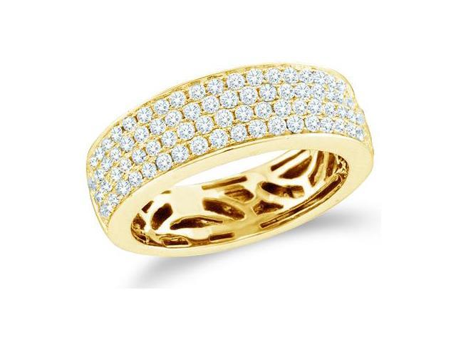 14k Yellow Gold Round Cut Diamond Channel Set 4 Row Ladies Womens Wedding or Anniversary 6mm Ring Band (.98 cttw, G - H Color, I1 Clarity)