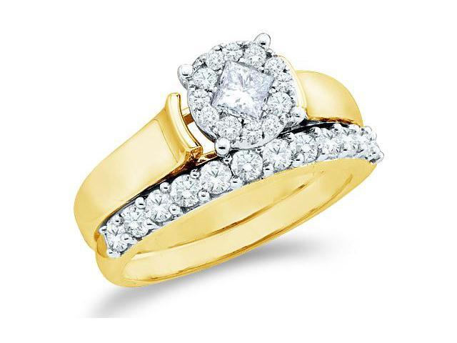 14k Yellow Gold Diamond Ladies Engagement Ring Wedding Band Two 2 Ring Set Solitaire Style Center Setting Princess and Round Cut Diamond Ring 7mm (.97 cttw, G - H Color, SI2 Clarity)