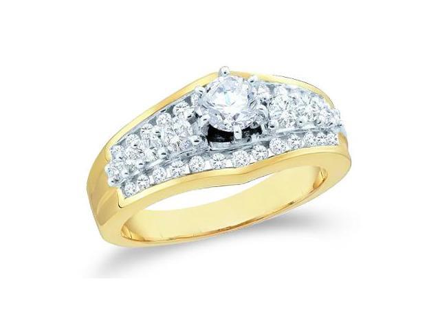 14k Yellow Gold Diamond Engagement Wedding Solitaire with Side Stones Channel Set Round Brilliant Cut Diamond Ring 9mm (1.0 cttw, 2/5 ct Center, G - H Color, SI2 Clarity)