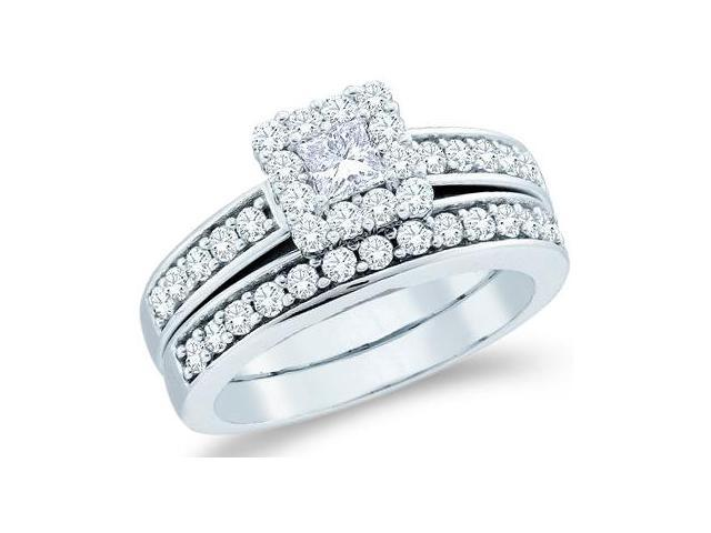 14k White Gold Diamond Engagement Ring Wedding Band Two 2 Ring Set Solitaire Side Stones Halo Princess and Round Cut Diamond Ring  (1.0 cttw, 1/4 ct Center, G - H Color, SI2 Clarity)