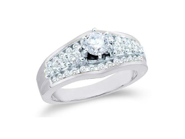 14k White Gold Diamond Engagement Wedding Solitaire with Side Stones Channel Set Round Brilliant Cut Diamond Ring 9mm (1.0 cttw, 2/5 ct Center, G - H Color, SI2 Clarity)