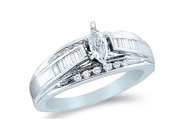 14k White Gold Diamond Engagement Wedding Solitaire with Side Stones Channel Set Marquise , Round & Baguette Cut Diamond Ring  (1/2 cttw, 1/5 ct Center, G - H Color, SI2 Clarity)