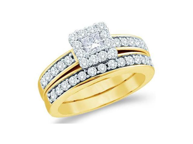 14k Yellow Gold Diamond Engagement Ring Wedding Band Two 2 Ring Set Solitaire Side Stones Halo Princess and Round Cut Diamond Ring  (1.0 cttw, 1/4 ct Center, G - H Color, SI2 Clarity)