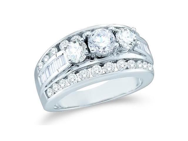 Solid 14k White Gold 3 Three Stone Round Cut Big Large Diamond Engagement Wedding Ring Band with Baguette and Round Side stone Diamonds (2.0 cttw, G - H Color, SI2 Clarity)