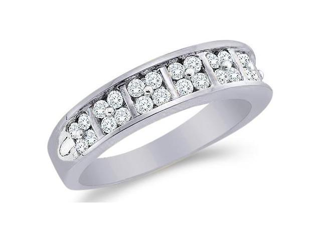 14k White Gold Round Cut Diamond Ladies Womens Two Row Channel Set Wedding or Anniversary Ring Band (1/2 cttw, G - H Color, SI2 Clarity)