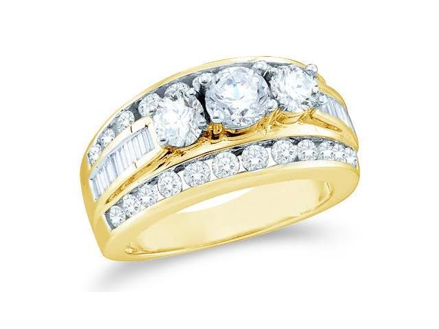 Solid 14k Yellow Gold 3 Three Stone Round Cut Big Large Diamond Engagement Wedding Ring Band with Baguette and Round Side stone Diamonds (2.0 cttw, G - H Color, SI2 Clarity)