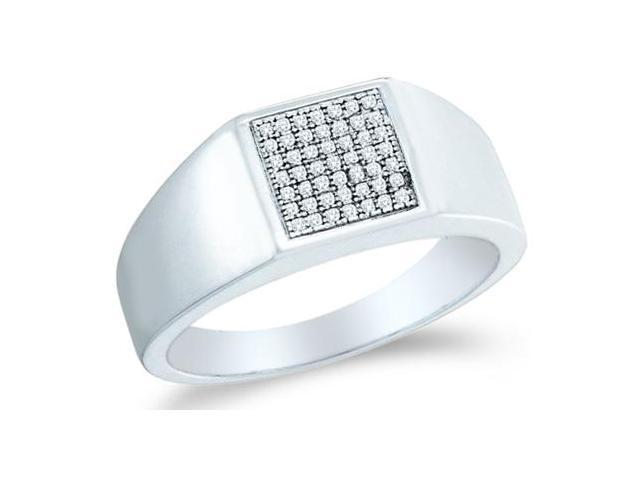 10k White Gold Classic Fashion Micro Pave Set Round Cut Mens Diamond Wedding Ring Band 9mm (.15 cttw, H Color, I1 Clarity)