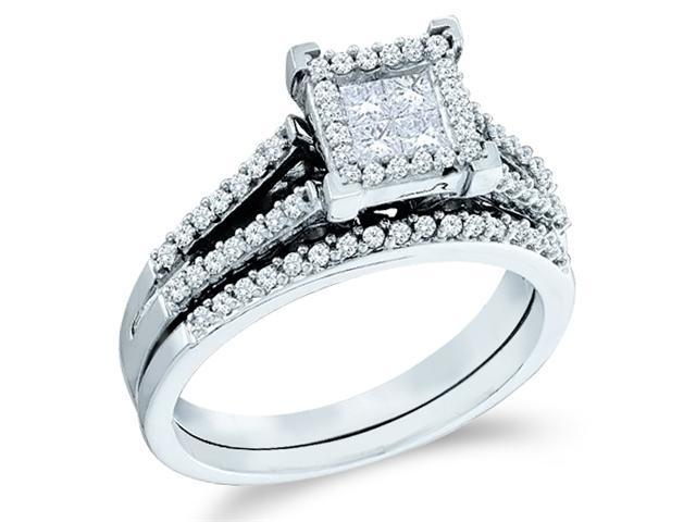 14k White Gold Diamond Engagement Ring Wedding Band Two 2 Ring Set Solitaire Style Center Setting Side Stones Princess and Round Cut Diamond Ring  (1/2 cttw, G - H Color, SI2 Clarity)