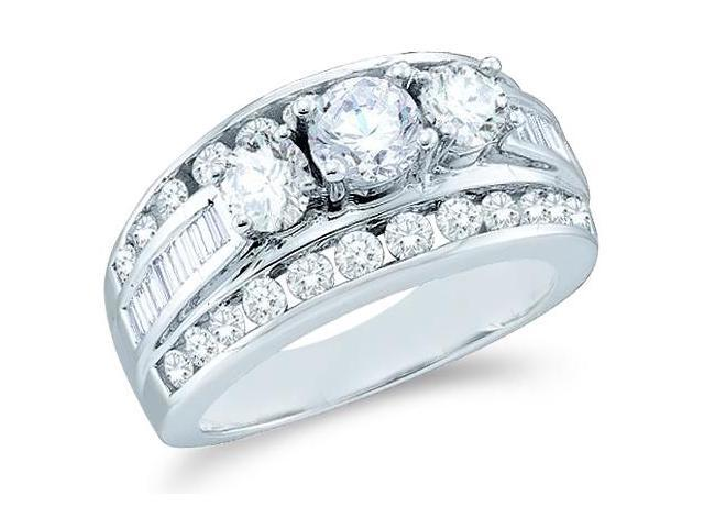 Solid 14k White Gold 3 Three Stone Round Cut Big Large Diamond Engagement Wedding Ring Band with Baguette and Round Side stone Diamonds (1.0 cttw, G - H Color, I1 Clarity)