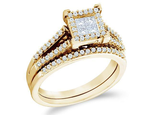 14k Yellow Gold Diamond Engagement Ring Wedding Band Two 2 Ring Set Solitaire Style Center Setting Side Stones Princess and Round Cut Diamond Ring  (1/2 cttw, G - H Color, SI2 Clarity)