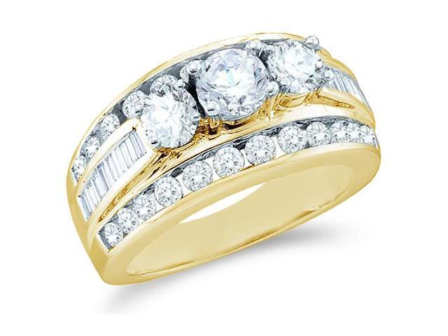 Solid 14k Yellow Gold 3 Three Stone Round Cut Big Large Diamond Engagement Wedding Ring Band with Baguette and Round Side stone Diamonds (1.0 cttw, G - H Color, I1 Clarity)