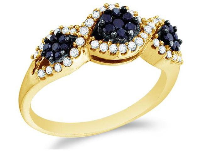 14k Yellow Gold Black and White Diamond Three 3 Stone Style Channel Set Round Cut Womens Diamond Engagement Wedding Anniversary Fashion Ring Band  (1/2 cttw, H Color, I1 Clarity)