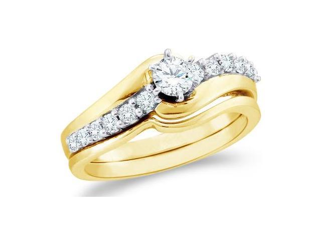 14k Yellow Gold Diamond Engagement Ring w/ Plain Solid Wedding Band Two 2 Ring Set Solitaire Side Stones Round Cut Diamond Ring  (1/2 cttw, 1/5 ct Center, G - H Color, SI2 Clarity)