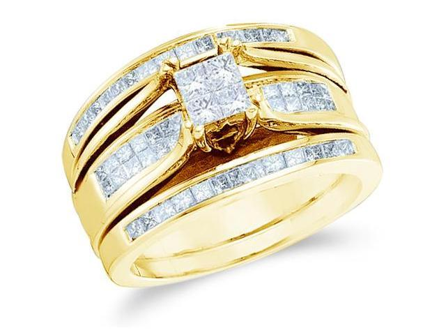 14k Yellow Gold Diamond Ladies Engagement Ring 2 Wedding & Band Three 3 Ring Set Solitaire Style Center Setting Side Stones Princess Cut Diamond Ring  (1.0 cttw, G - H Color, SI2 Clarity)