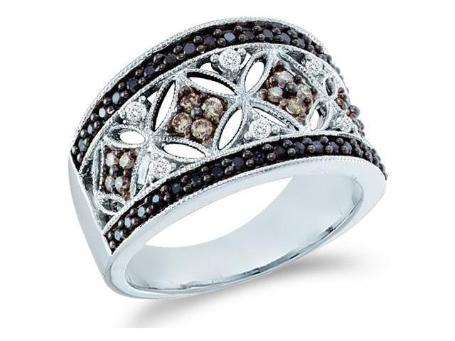 14k White Gold Large Black, Brown Chocolate & White Diamond Round Cut Womens Diamond Wedding Anniversary Fashion Ring Band  (1/2 cttw, H Color, I1 Clarity)