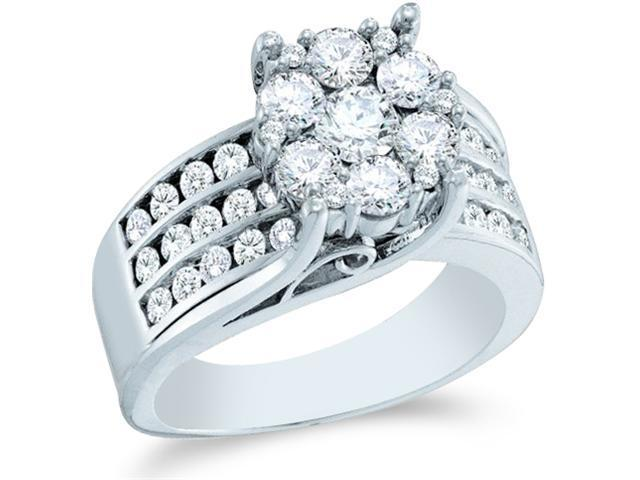 14k White Gold Diamond Engagement Wedding Right Hand Flower Shape Center  Solitaire Style Center Setting Pave Set Large Round Cut Diamond Ring 13mm (2.0 cttw, H Color, I1 Clarity)