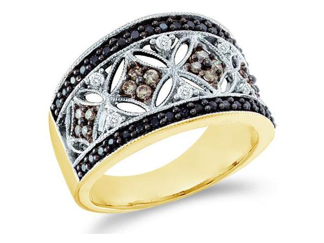 14k Yellow Gold Large Black, Brown Chocolate & White Diamond Round Cut Womens Diamond Wedding Anniversary Fashion Ring Band  (1/2 cttw, H Color, I1 Clarity)