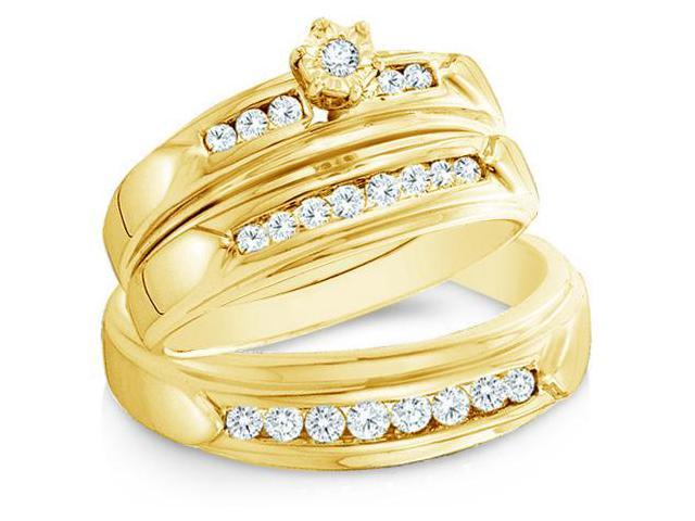 14k Yellow Gold Trio 3 Three Ring Matching Engagement Wedding Ring Band Set - Round Diamonds - Round Shape Center Setting w/ Side Stones (.43 cttw, H Color, I1 Clarity)