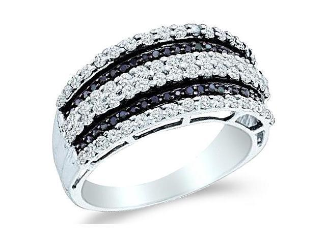 14k White Gold Black and White Diamond Channel Set Round Cut Womens Diamond Wedding Anniversary Fashion Ring Band  (.83 cttw, H Color, I1 Clarity)