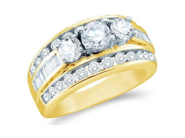 Solid 14k Yellow Gold 3 Three Stone Round Cut Big Large Diamond Engagement Wedding Ring Band with Baguette and Round Side stone Diamonds (3.0 cttw, G - H Color, SI2 Clarity)