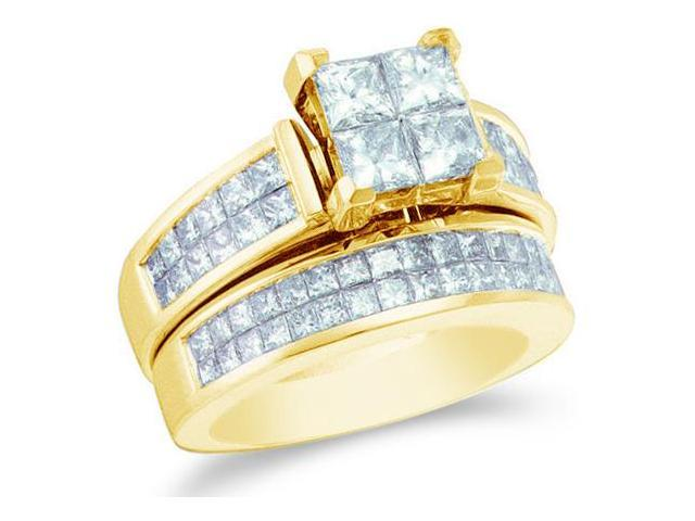 14k Yellow Gold Diamond Engagement Ring Wedding Band Two 2 Ring Set Large Solitaire Style Center Setting Side Stones Princess Cut Diamond Ring  (3.0 cttw, G - H Color, SI2 Clarity)