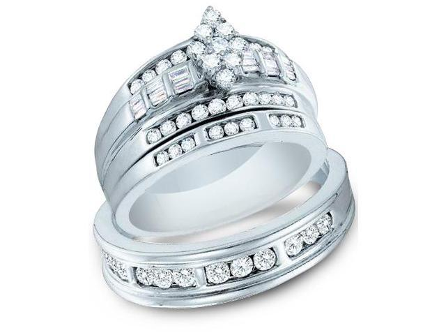 14k White Gold Trio 3 Three Ring Matching Engagement Wedding Ring Band Set - Round and Baguette Diamonds - Marquise Shape Center Setting w/ Side Stones (1.15 cttw, H Color, I1 Clarity)