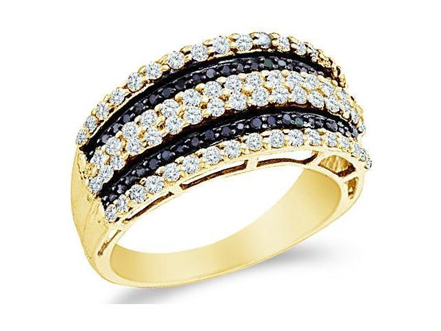 14k Yellow Gold Black and White Diamond Channel Set Round Cut Womens Diamond Wedding Anniversary Fashion Ring Band  (.83 cttw, H Color, I1 Clarity)