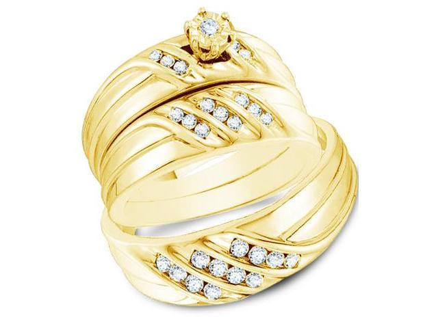 14k Yellow Gold Trio 3 Three Ring Matching Engagement Wedding Ring Band Set - Round Diamonds - Solitaire Setting Side Stones (1/2 cttw, H Color, I1 Clarity)