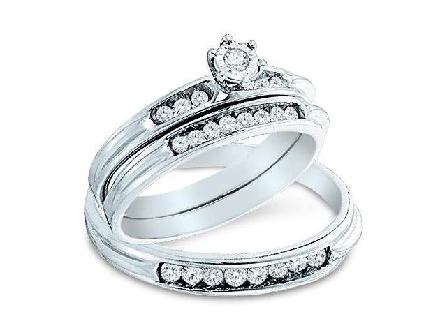 14k White Gold Trio 3 Three Ring Matching Engagement Wedding Ring Band Set - Round Diamonds - Solitaire Center Setting w/ Side Stones (2/5 cttw, H Color, I1 Clarity)